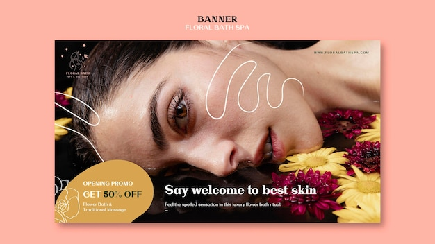 Floral spa ad template banner