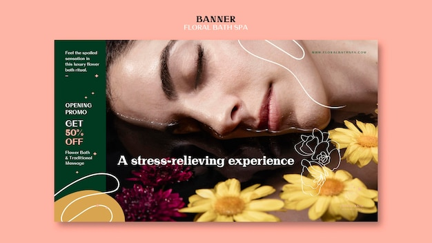 Floral spa banner template