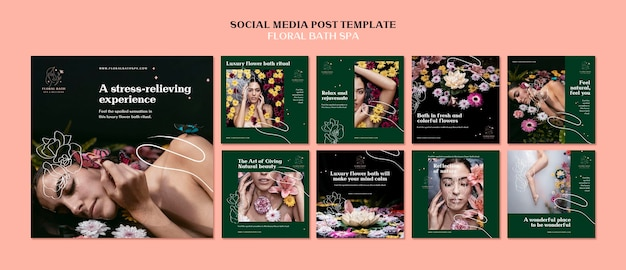 Floral spa social media post template