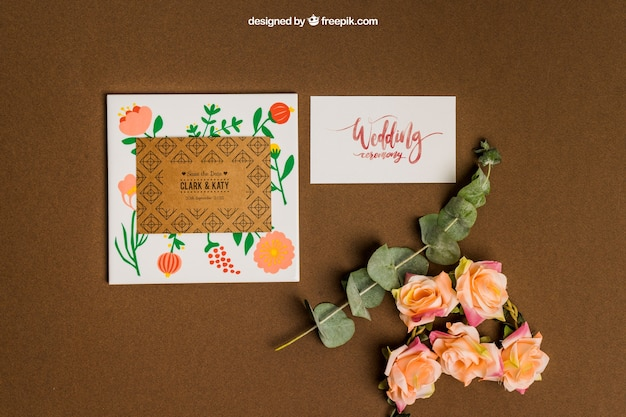 Floral stationery wedding mockup