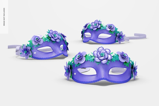 Floral venetian half-face masks mockup, front view