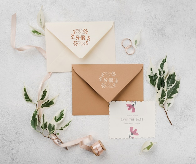 Floral wedding concept mock-up