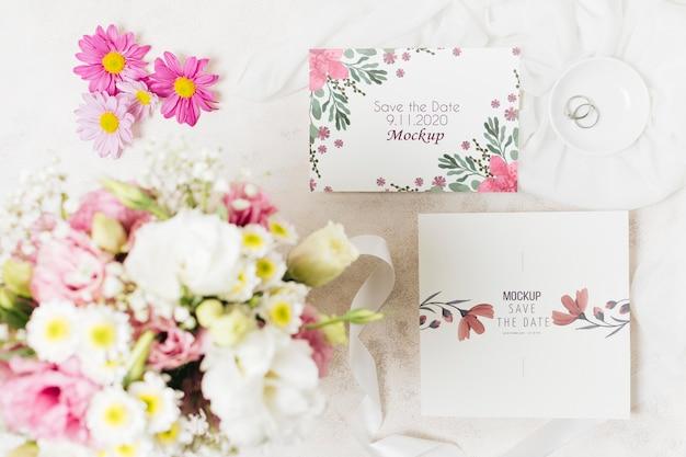 Mock-up di concetto di matrimonio floreale