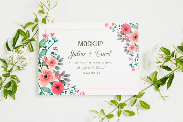 Mock-up di concetto di matrimonio floreale