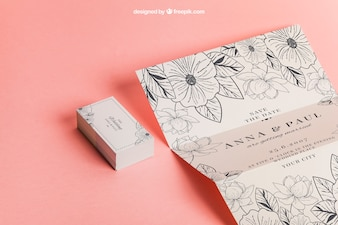 Floral wedding invitation and cards