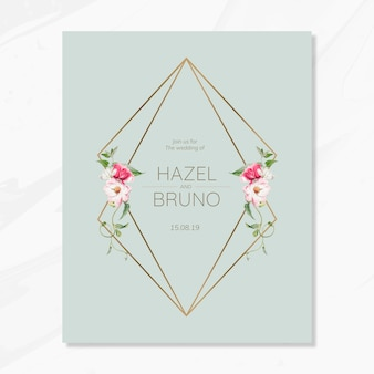 Floral wedding invitation card mockup