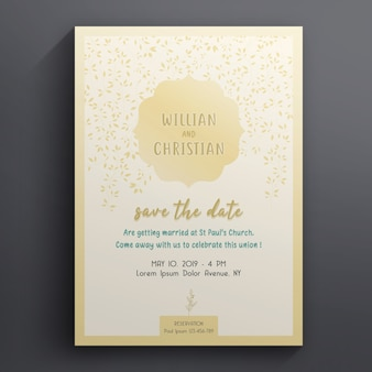 Floral wedding and invitation card template
