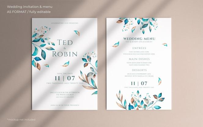 Floral wedding invitation and menu template