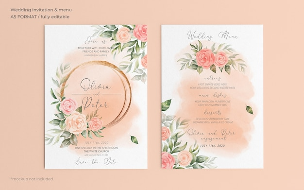 Floral wedding invitation and menu template