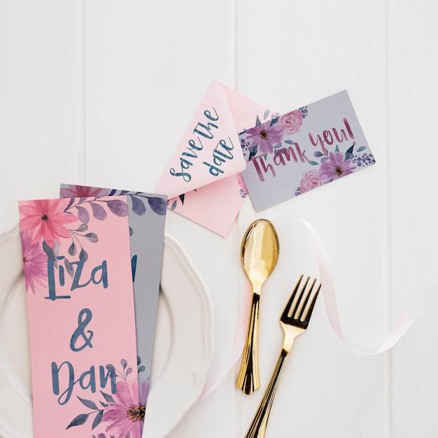 Floral wedding invitation mockup watercolor
