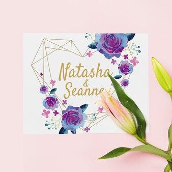 Floral wedding invitation mockup