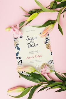 Floral wedding invitation mockup