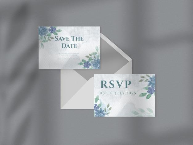 花の結婚式の招待状のテンプレートセット花の手描きの葉水彩背景紙のモックアップ