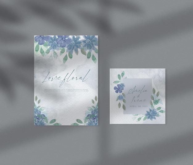 꽃 청첩장 템플릿 세트 꽃 손으로 그린 잎 수채화 배경 종이 이랑