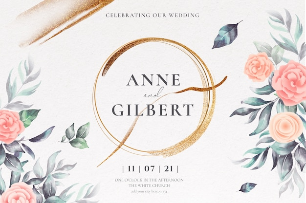 Floral wedding invitation template with soft flowers