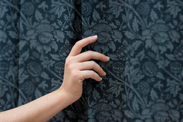 Floral window curtain mockup psd