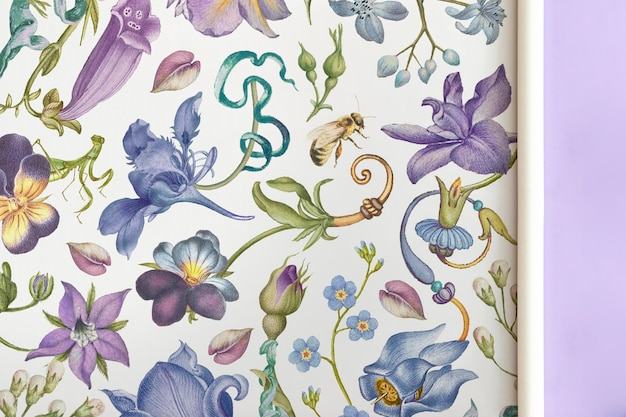Floral wrapping paper  hand drawn vintage style, remixed from artworks