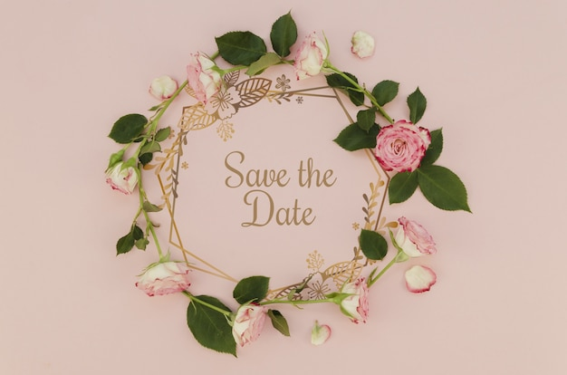 Floral wreath save the date with roses