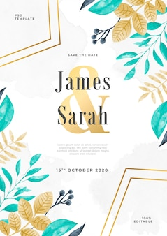 Florar watercolor wedding invitation psd template