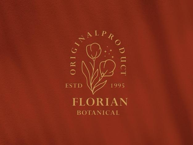Флорианский ботанический золотой макет с тисненым логотипом