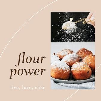 Modello di post ig psd in polvere di farina per il marketing di prodotti da forno e caffè
