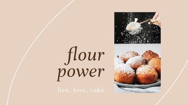 Modello di presentazione psd in polvere di farina per il marketing di prodotti da forno e caffè