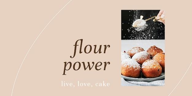 Modello di intestazione twitter psd in polvere di farina per il marketing di prodotti da forno e caffè