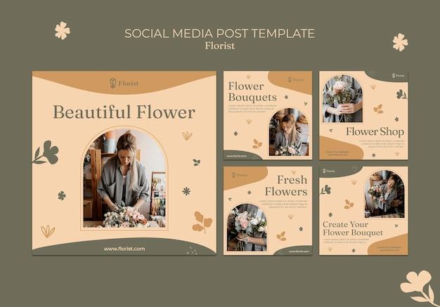 Modello di post sui social media con bouquet di fiori