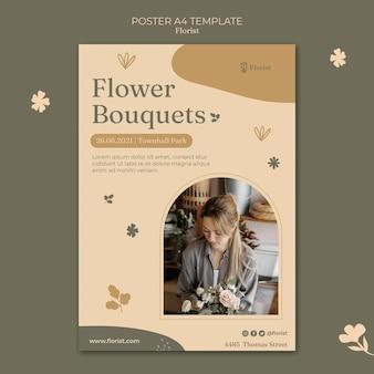Modello di poster di mazzi di fiori