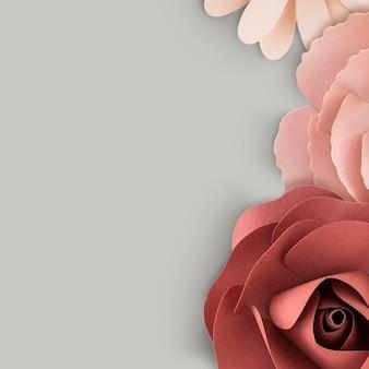 花で飾られた灰色のバナーのモックアップ