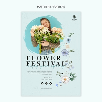 Flower festival concept poster template
