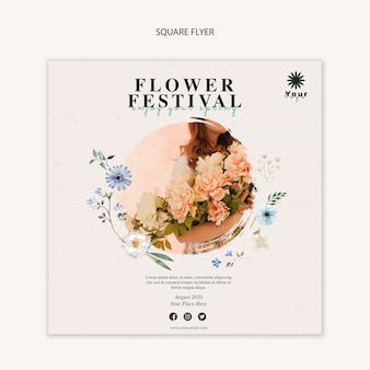 Flower festival concept square flyer template