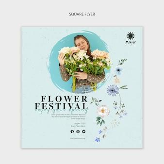 Цветочный фестиваль концепции квадратный флаер шаблон