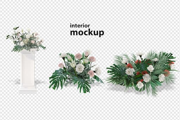 花のモックアップ3dレンダリング