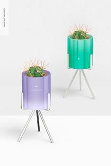 Vasi da fiori con supporto in metallo mockup