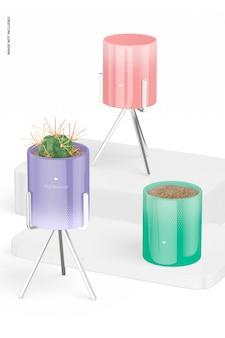 金属製スタンドモックアップ付き植木鉢
