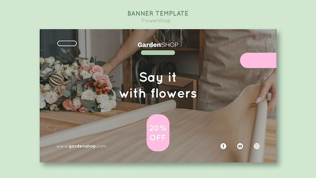Flower shop horizontal banner template