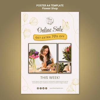 Modello di poster per la vendita online del negozio di fiori