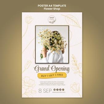 Modello di manifesto di apertura del negozio di fiori