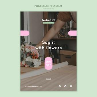 Flower shop vertical print template