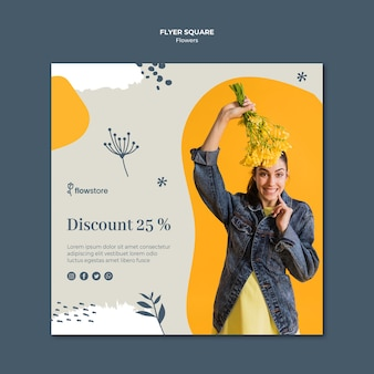 Flower shop with discount square flyer template