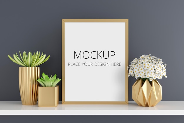 Flower and succulent pot plant with frame mockup