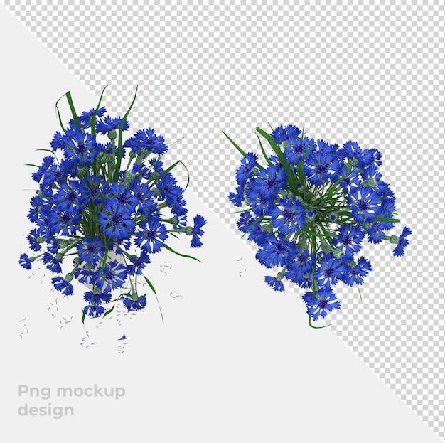 Цветы 3d рендеринга украшения и дизайн интерьера с видом сверху
