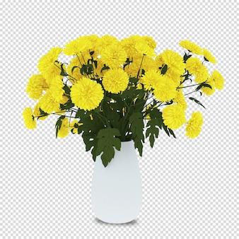 Корзина цветов в 3d-рендеринге