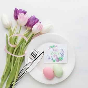 Букет цветов с яйцами