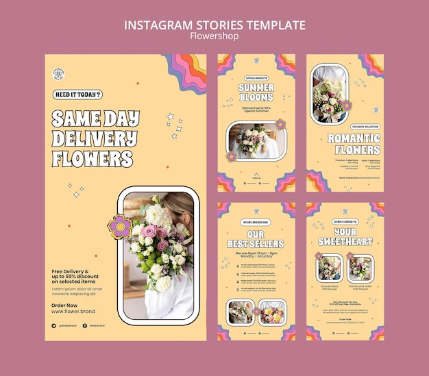 Flowers delivery instagram stories template