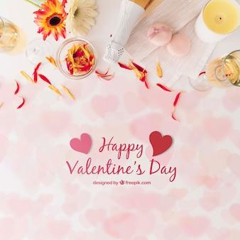 モックアップとバレンタインデーの花