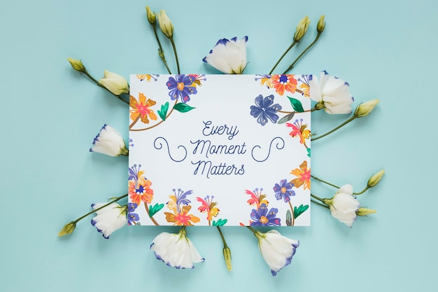 Flowers and greeting card
