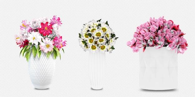 고립 된 3d 렌더링에 꽃병에 꽃