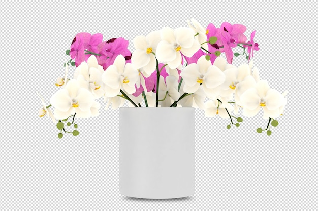 分離された3dレンダリングの花瓶の花